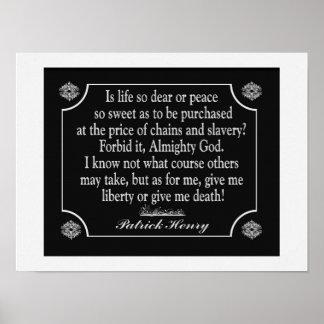 パトリック・ヘンリーのスピーチの引用文-芸術のプリント ポスター