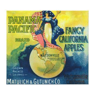 パナマ太平洋のApple木枠のラベル キャンバスプリント