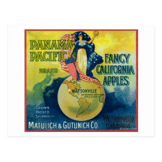 パナマ太平洋のApple木枠のラベル ポストカード