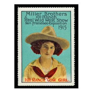 パナマ太平洋101の牧場女性のカーボーイポスタースタンプ#3 ポストカード
