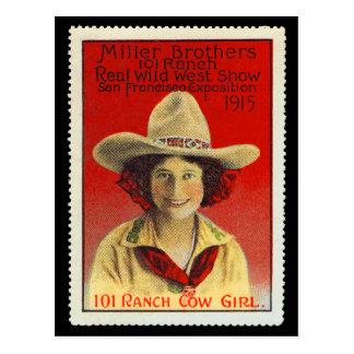 パナマ太平洋101の牧場女性のカーボーイポスタースタンプ#4 ポストカード