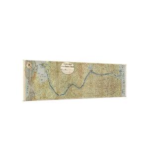 パナマ運河(1886年)のヴィンテージの地図 キャンバスプリント
