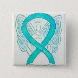 パニック障害の認識度のリボンの天使のカスタムPin 5.1cm 正方形バッジ