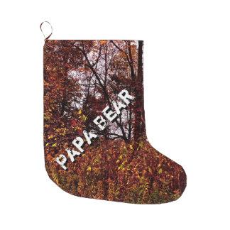 パパくまの秋の迷彩柄のクリスマスのストッキング ラージクリスマスストッキング