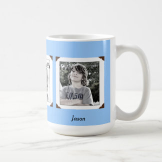 パパのための淡いブルーの数々の写真名前及びメッセージのマグ ベーシックホワイトマグカップ