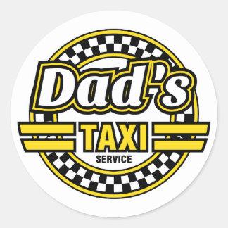 パパのタクシーサービス-パパの車のためのおもしろいなステッカー ラウンドシール