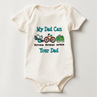 パパのトライアスロンのオーガニックな幼児クリーパー ベビーボディスーツ