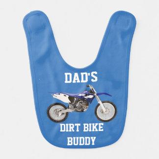 パパの土のバイクの相棒の青のベビー用ビブ ベビービブ