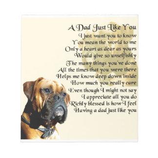 パパの詩-ボクサー犬のデザイン ノートパッド