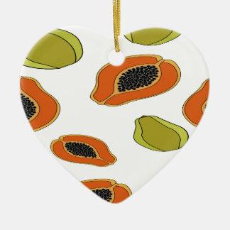 パパイヤのフルーツパターン セラミックオーナメント