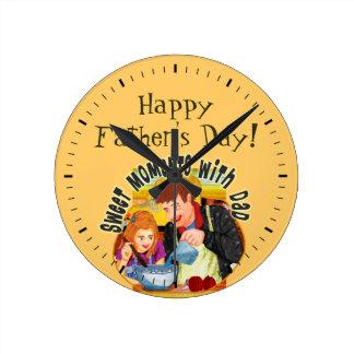 パパ及び娘 ラウンド壁時計