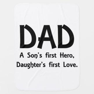 パパ息子の最初英雄、娘の最初愛 ベビー ブランケット