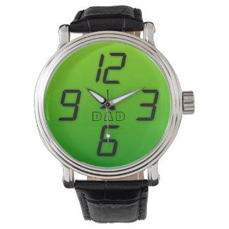 パパ70sの緑の模造のな導かれた効果のレトロのスタイルの腕時計 腕時計