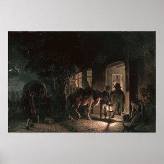 パブの前、1843年 ポスター