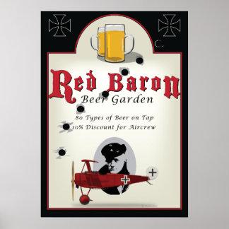 パブの印、Beer Garden赤い男爵 ポスター