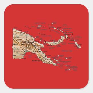 パプアニューギニアの地図のステッカー スクエアシール
