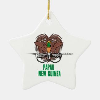 パプアニューギニア-または記号紋章か旗または紋章付き外衣 セラミックオーナメント
