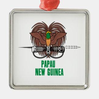 パプアニューギニア-または記号紋章か旗または紋章付き外衣 メタルオーナメント