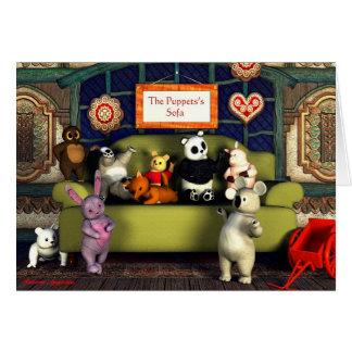 パペットのソファーの挨拶状 グリーティングカード