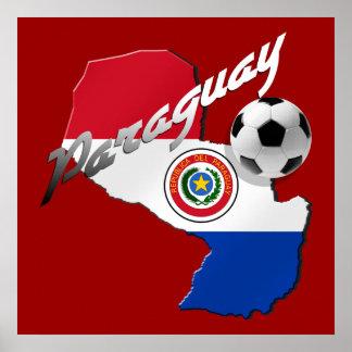 パラグアイのギフトのパラグアイの旗のサッカーボールの地図 ポスター