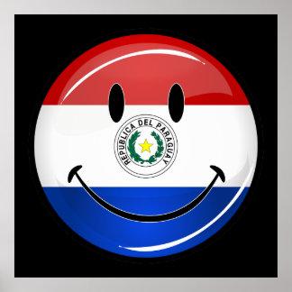 パラグアイの光沢のある円形の微笑の旗 ポスター