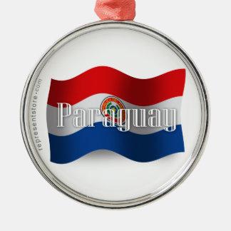 パラグアイの振る旗 メタルオーナメント