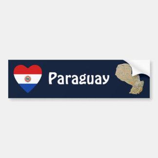 パラグアイの旗のハート + 地図のバンパーステッカー バンパーステッカー