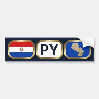 パラグアイの旗の地図コードバンパーステッカー バンパーステッカー