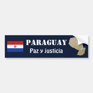 パラグアイの旗 + 地図のバンパーステッカー バンパーステッカー