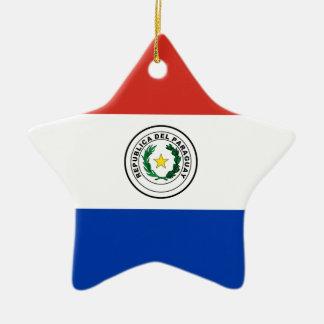 パラグアイ- Bandera deパラグアイの旗 セラミックオーナメント