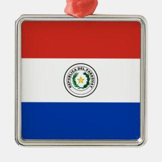 パラグアイ- Bandera deパラグアイの旗 メタルオーナメント