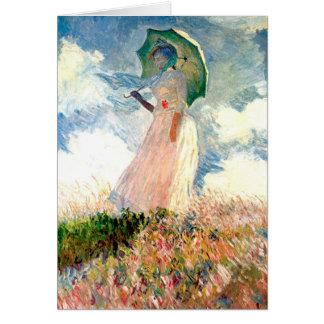 パラソルの遊歩道Monetを持つ女性 カード