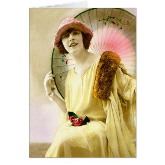 パラソルを持つ女性 カード