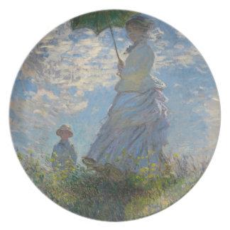 パラソルを持つ女性-夫人Monetおよび彼女の息子 プレート