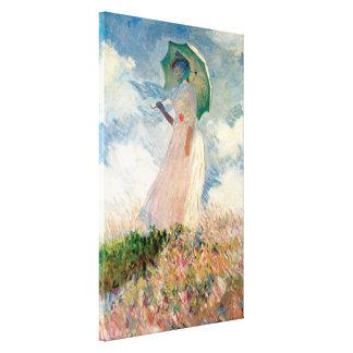 パラソルを持つ女性、1886年を残っている直面 キャンバスプリント