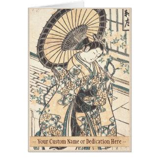 パラソルを持つ石川Toyonobuの若い女性 カード