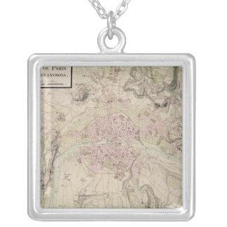 パリおよび包囲の地図 シルバープレートネックレス