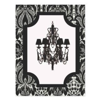 パリのアール・デコのダマスク織のヴィンテージの黒のシャンデリア ポストカード