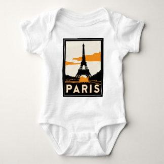 パリのアール・デコレトロ旅行ポスター ベビーボディスーツ