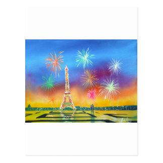 パリのエッフェル塔の絵画 ポストカード