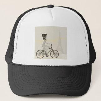 パリのエッフェル塔を循環させている女性の女の子の自転車 キャップ