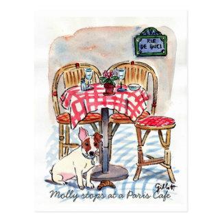 パリのカフェの郵便はがきのモーリー停止 ポストカード