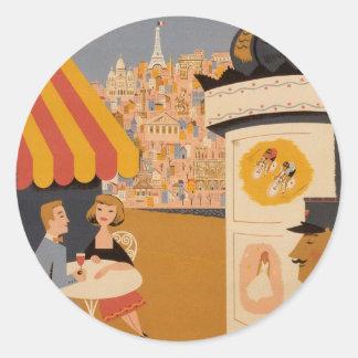 パリのカフェ旅行ポスターステッカー ラウンドシール