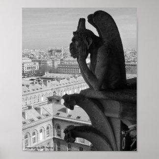 パリのガーゴイルB&W ポスター