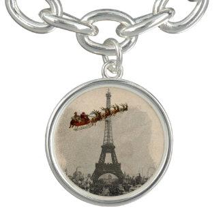 パリのクリスマスのチャーム上のヴィンテージサンタ チャームブレスレット