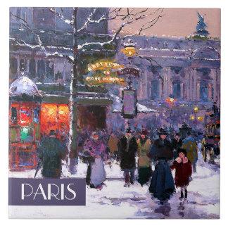 パリのクリスマス。 クリスマスのギフトのセラミックタイル 正方形タイル大