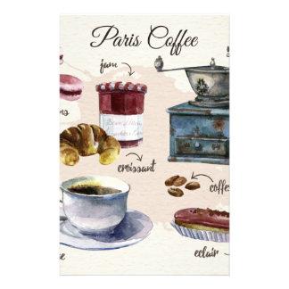 パリのコーヒーおよびペストリーの御馳走絵 便箋