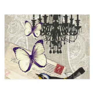 パリのシャンデリアの蝶鳥のモダンのヴィンテージ ポストカード