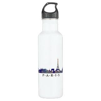 パリのスカイラインのモザイクシルエット ウォーターボトル