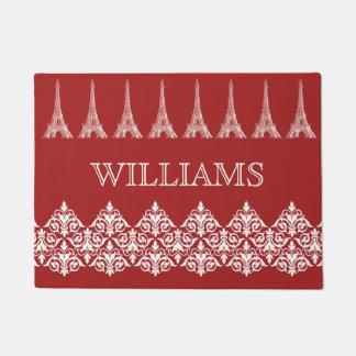 パリのダマスク織の赤く白く名前入りな玄関マット ドアマット